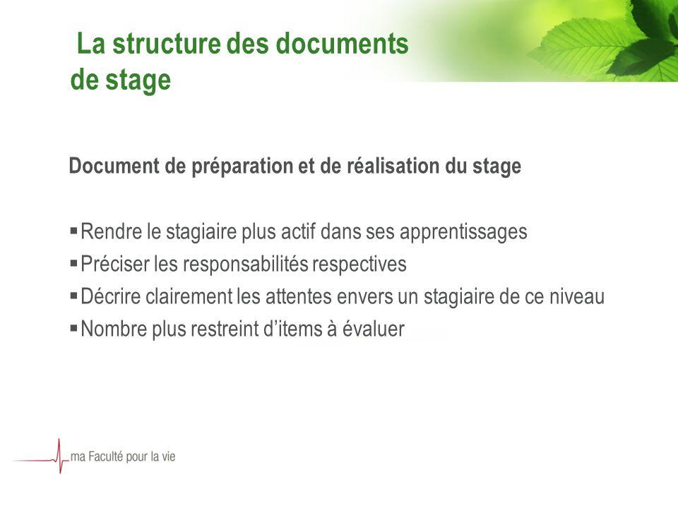 7 La structure des documents de stage Document de préparation et de réalisation du stage Rendre le stagiaire plus actif dans ses apprentissages Précis