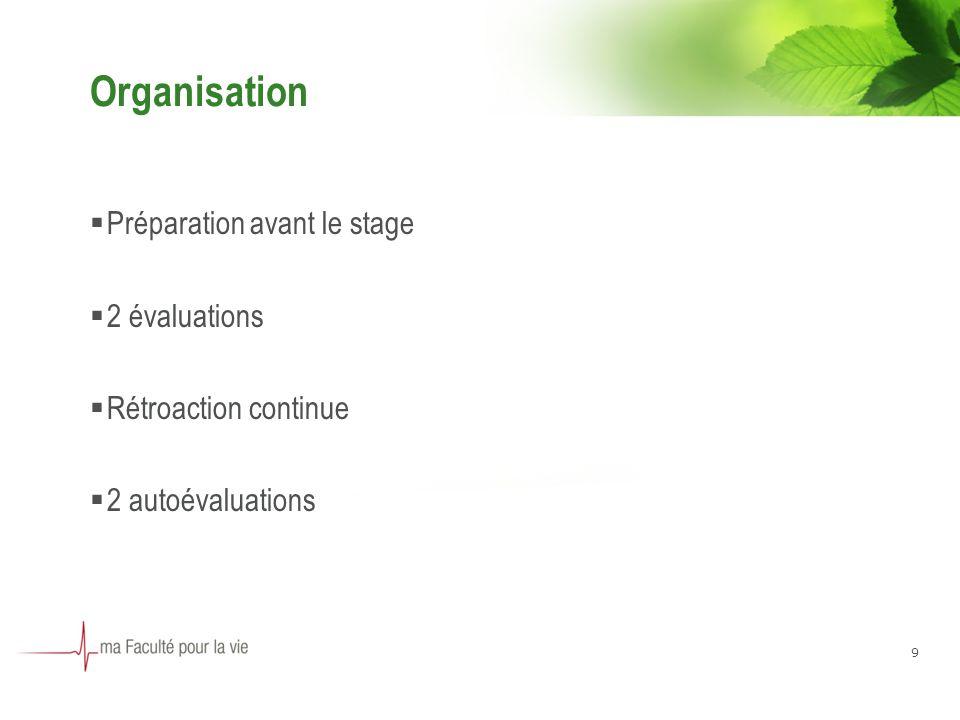 Organisation Préparation avant le stage 2 évaluations Rétroaction continue 2 autoévaluations 9