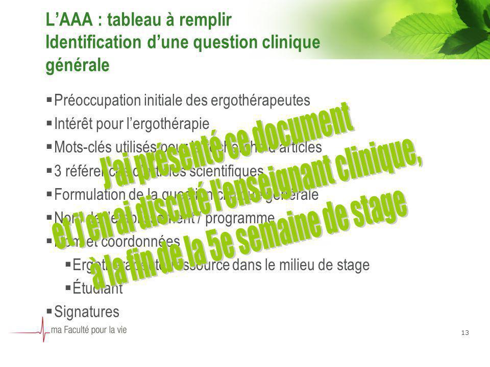 13 LAAA : tableau à remplir Identification dune question clinique générale Préoccupation initiale des ergothérapeutes Intérêt pour lergothérapie Mots-
