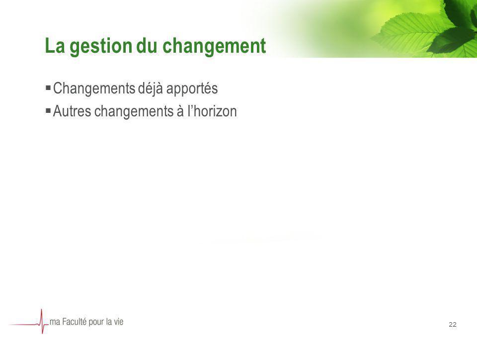 22 La gestion du changement Changements déjà apportés Autres changements à lhorizon