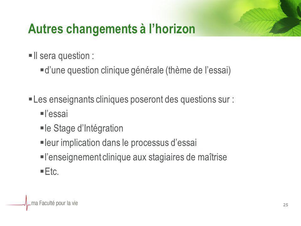 25 Autres changements à lhorizon Il sera question : dune question clinique générale (thème de lessai) Les enseignants cliniques poseront des questions