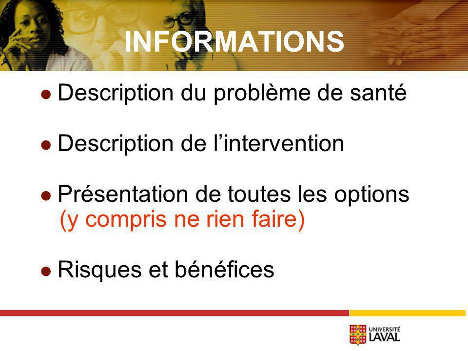 INFORMATIONS Description du problème de santé Description de lintervention Présentation de toutes les options (y compris ne rien faire) Risques et bénéfices