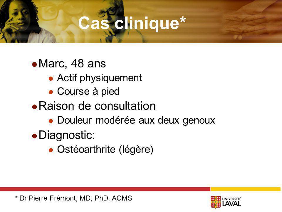 Cas clinique* Marc, 48 ans Actif physiquement Course à pied Raison de consultation Douleur modérée aux deux genoux Diagnostic: Ostéoarthrite (légère) * Dr Pierre Frémont, MD, PhD, ACMS