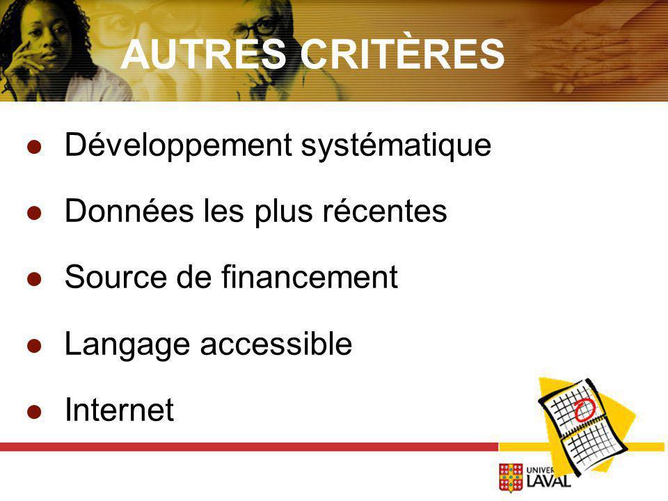 AUTRES CRITÈRES Développement systématique Données les plus récentes Source de financement Langage accessible Internet