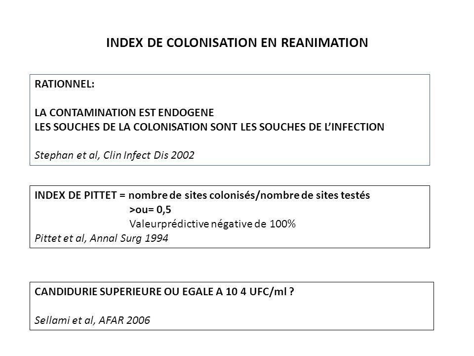 Indice de colonisation Pittet D et al, Colonization andsubsequent infections in critically ill surgical patients annsurg