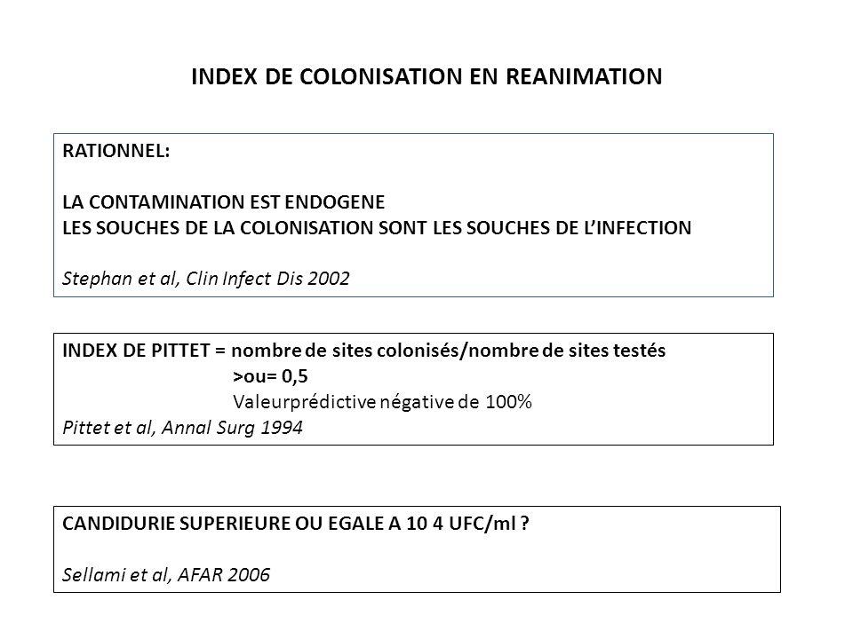 INDEX DE COLONISATION EN REANIMATION RATIONNEL: LA CONTAMINATION EST ENDOGENE LES SOUCHES DE LA COLONISATION SONT LES SOUCHES DE LINFECTION Stephan et al, Clin Infect Dis 2002 CANDIDURIE SUPERIEURE OU EGALE A 10 4 UFC/ml .