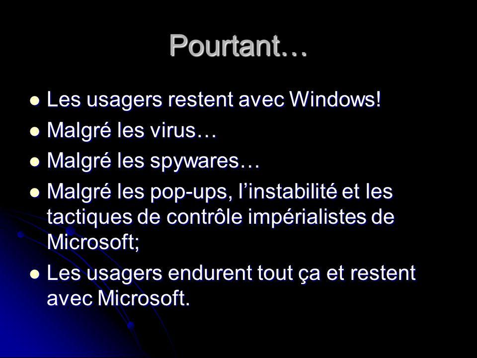 Pourtant… Les usagers restent avec Windows. Les usagers restent avec Windows.