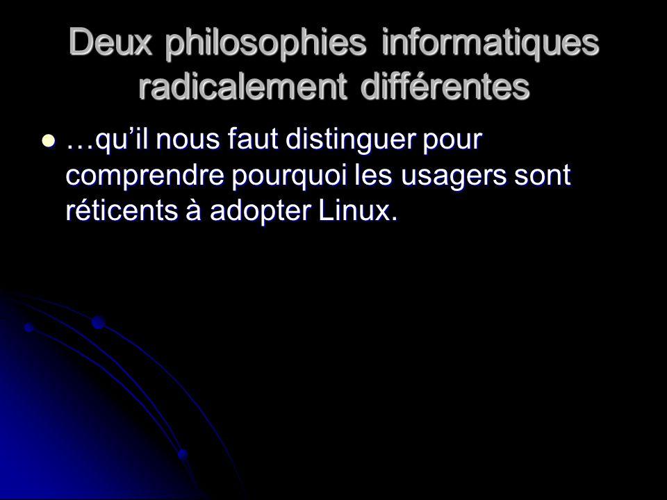 Deux philosophies informatiques radicalement différentes …quil nous faut distinguer pour comprendre pourquoi les usagers sont réticents à adopter Linux.
