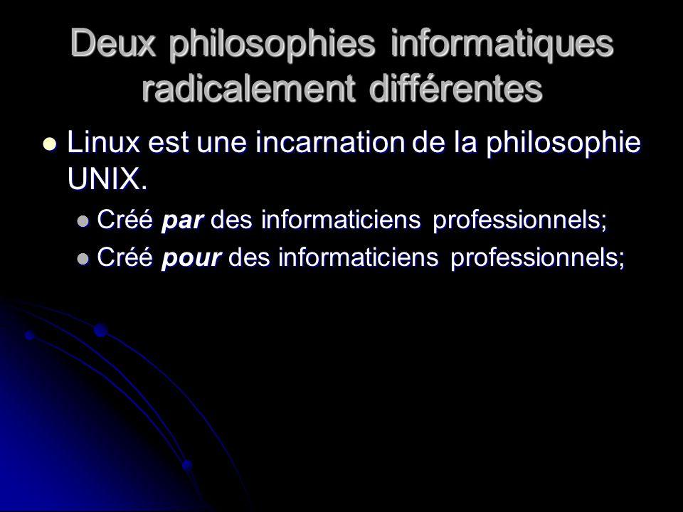 Deux philosophies informatiques radicalement différentes Linux est une incarnation de la philosophie UNIX.