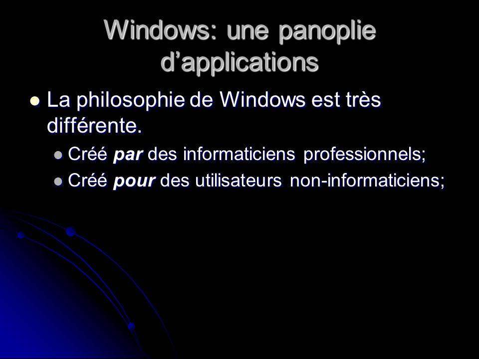 Windows: une panoplie dapplications La philosophie de Windows est très différente.