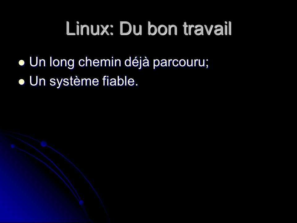 Linux: Du bon travail Un long chemin déjà parcouru; Un long chemin déjà parcouru; Un système fiable.
