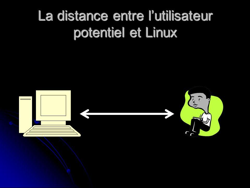 La distance entre lutilisateur potentiel et Linux
