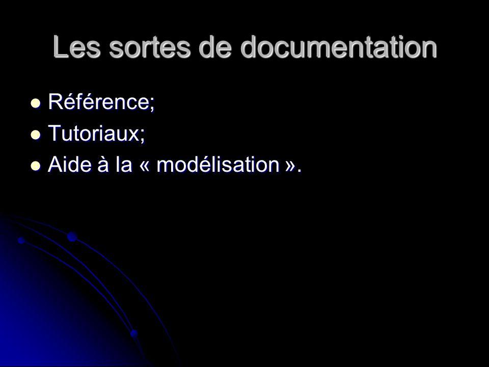 Les sortes de documentation Référence; Référence; Tutoriaux; Tutoriaux; Aide à la « modélisation ».