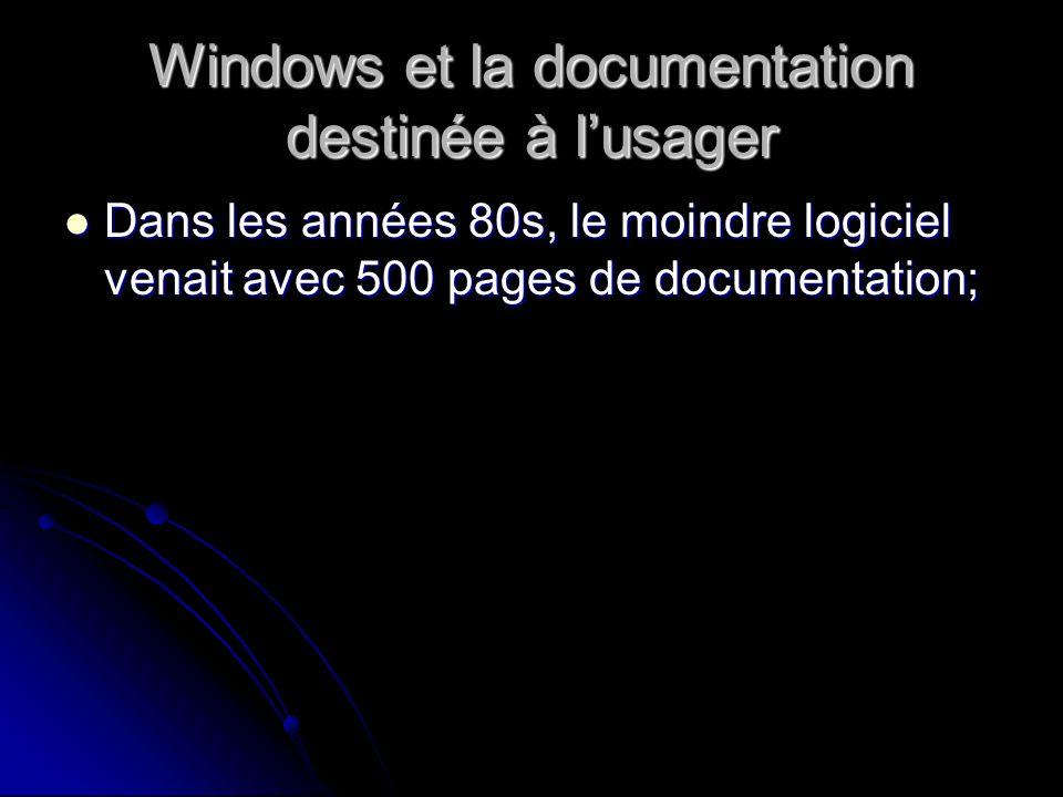 Windows et la documentation destinée à lusager Dans les années 80s, le moindre logiciel venait avec 500 pages de documentation; Dans les années 80s, le moindre logiciel venait avec 500 pages de documentation;