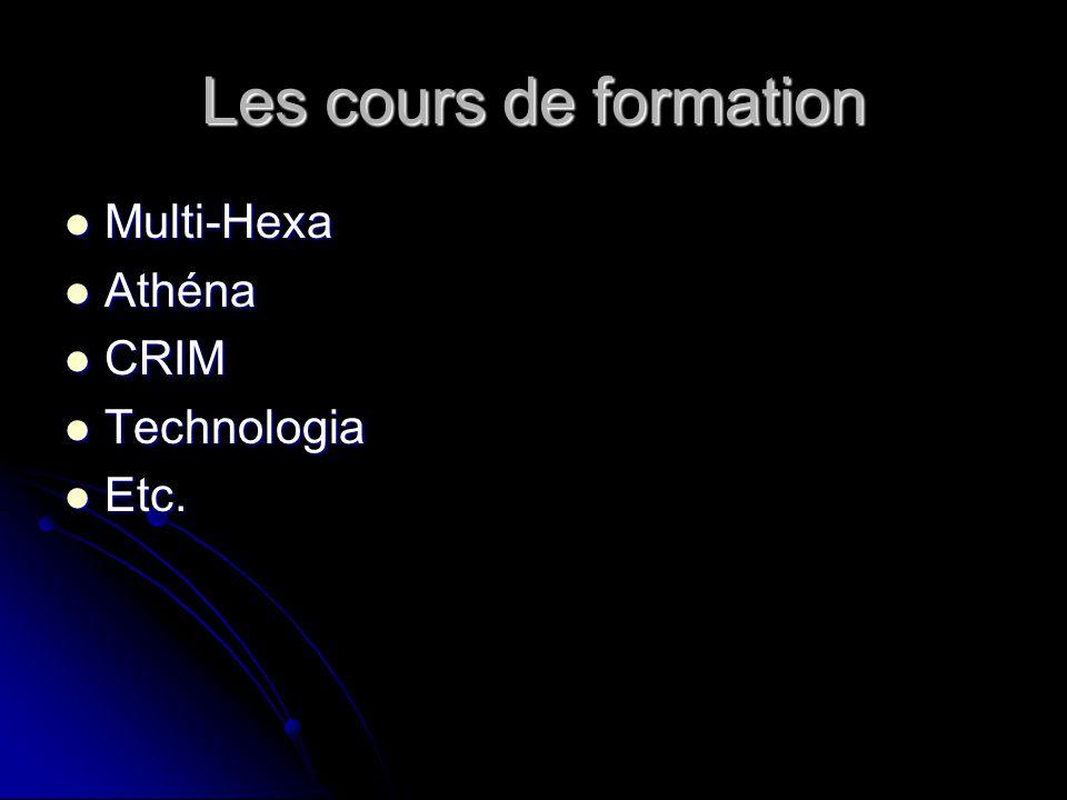 Les cours de formation Multi-Hexa Multi-Hexa Athéna Athéna CRIM CRIM Technologia Technologia Etc.