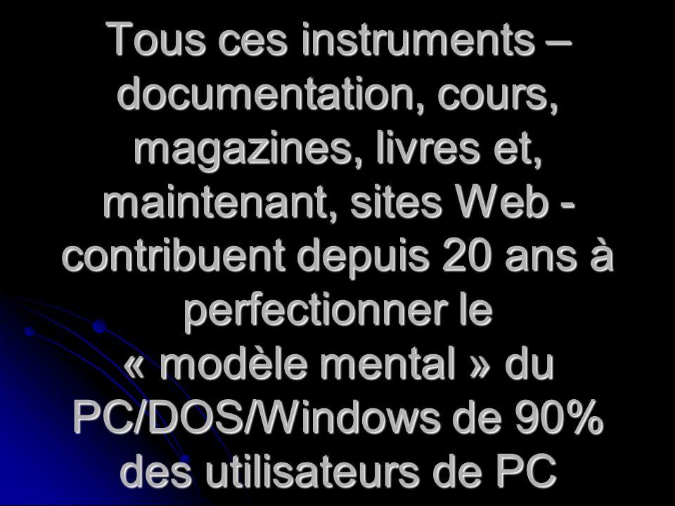 Tous ces instruments – documentation, cours, magazines, livres et, maintenant, sites Web - contribuent depuis 20 ans à perfectionner le « modèle mental » du PC/DOS/Windows de 90% des utilisateurs de PC