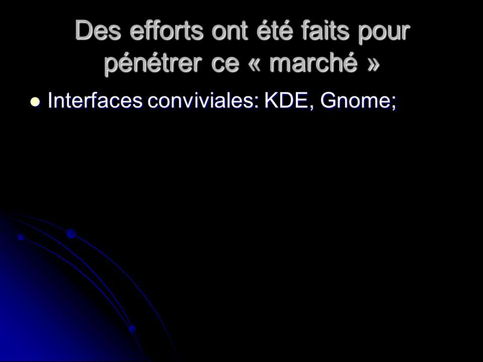 Des efforts ont été faits pour pénétrer ce « marché » Interfaces conviviales: KDE, Gnome; Interfaces conviviales: KDE, Gnome;