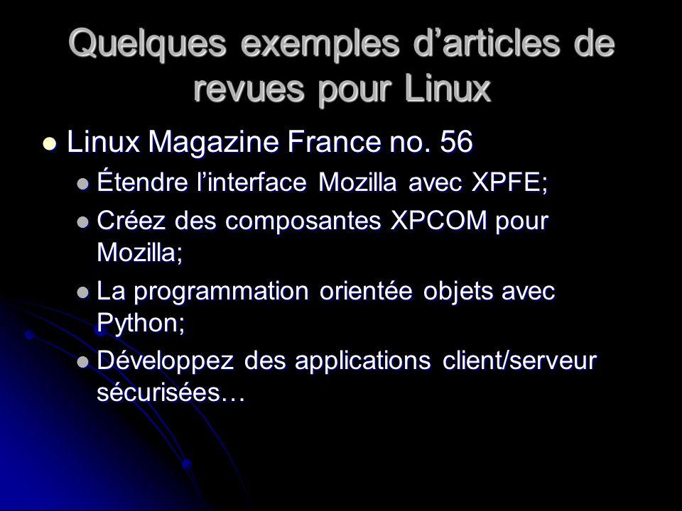 Quelques exemples darticles de revues pour Linux Linux Magazine France no.