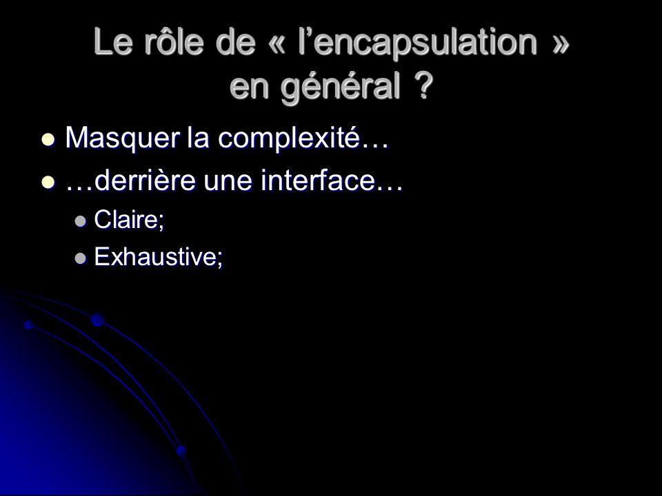 Le rôle de « lencapsulation » en général .