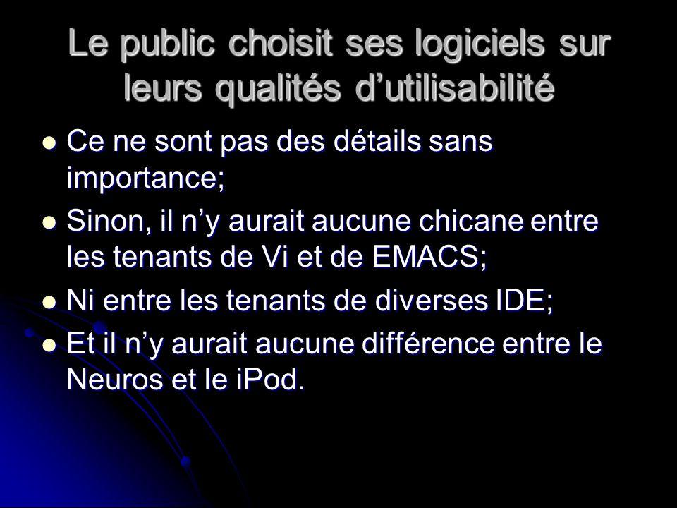Le public choisit ses logiciels sur leurs qualités dutilisabilité Ce ne sont pas des détails sans importance; Ce ne sont pas des détails sans importance; Sinon, il ny aurait aucune chicane entre les tenants de Vi et de EMACS; Sinon, il ny aurait aucune chicane entre les tenants de Vi et de EMACS; Ni entre les tenants de diverses IDE; Ni entre les tenants de diverses IDE; Et il ny aurait aucune différence entre le Neuros et le iPod.