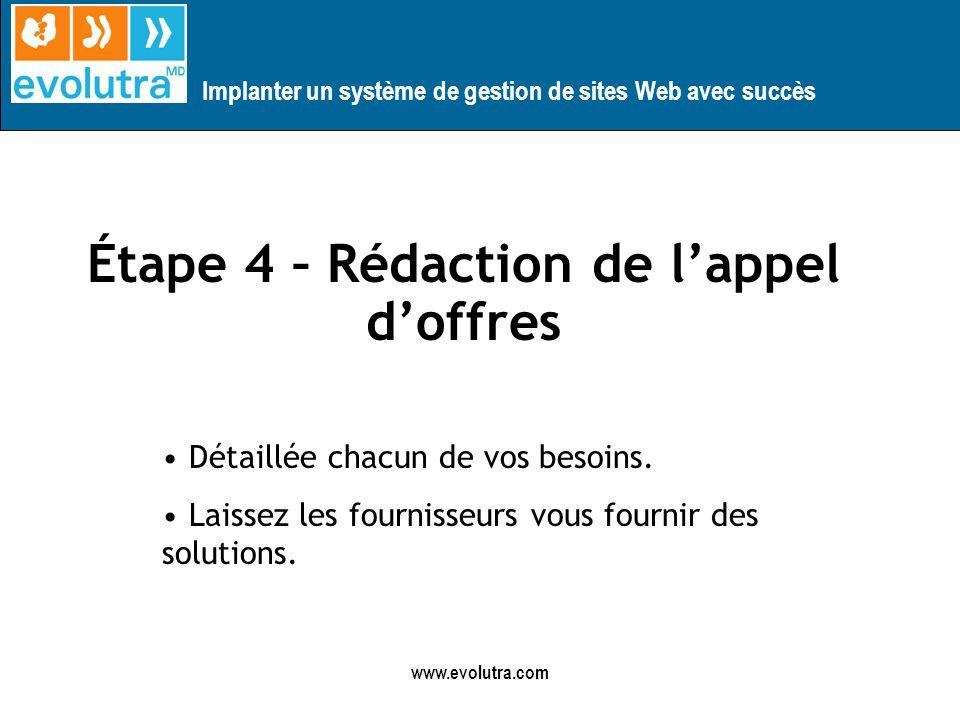 Implanter un système de gestion de sites Web avec succès www.evolutra.com Étape 4 – Rédaction de lappel doffres Détaillée chacun de vos besoins.