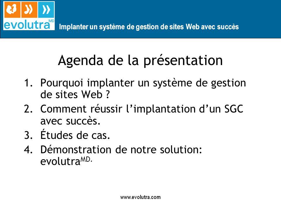 Implanter un système de gestion de sites Web avec succès www.evolutra.com Agenda de la présentation 1.Pourquoi implanter un système de gestion de sites Web .