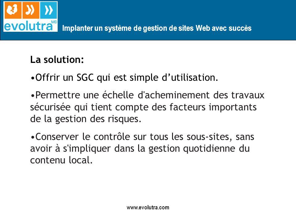 Implanter un système de gestion de sites Web avec succès www.evolutra.com La solution: Offrir un SGC qui est simple dutilisation.