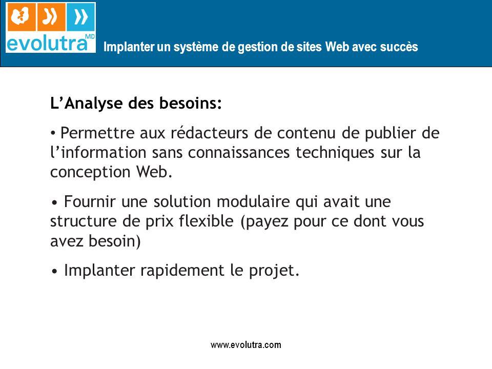 Implanter un système de gestion de sites Web avec succès www.evolutra.com LAnalyse des besoins: Permettre aux rédacteurs de contenu de publier de linformation sans connaissances techniques sur la conception Web.