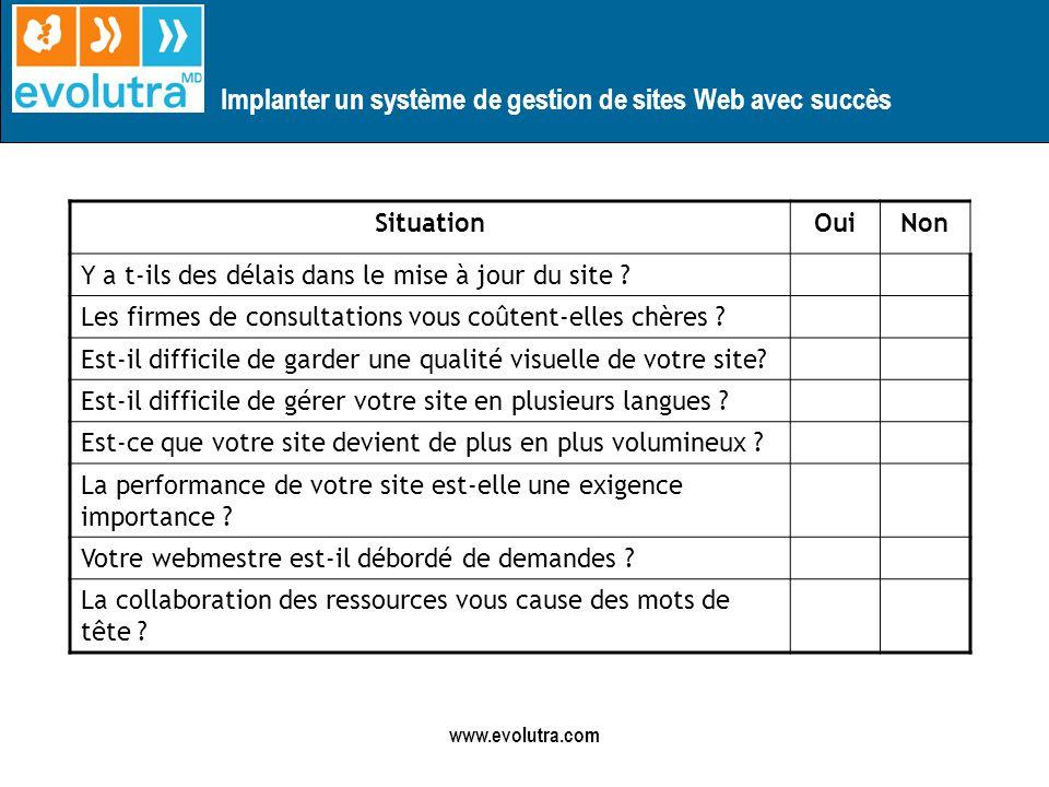 Implanter un système de gestion de sites Web avec succès www.evolutra.com Si OUI, un SGC est pour vous !!!