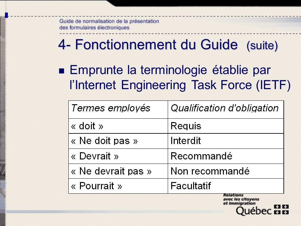 4- Fonctionnement du Guide (suite) Emprunte la terminologie établie par lInternet Engineering Task Force (IETF)