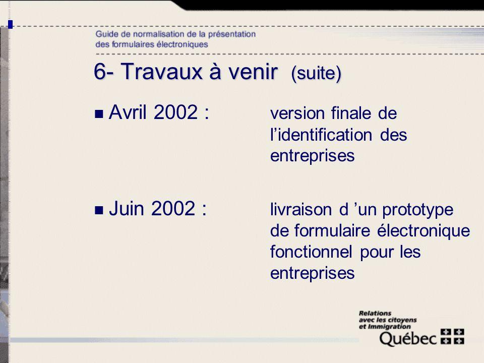 6- Travaux à venir (suite) Avril 2002 : version finale de lidentification des entreprises Juin 2002 : livraison d un prototype de formulaire électroni