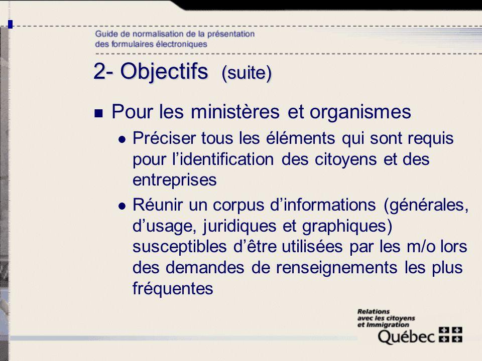 2- Objectifs (suite) Pour les ministères et organismes Préciser tous les éléments qui sont requis pour lidentification des citoyens et des entreprises