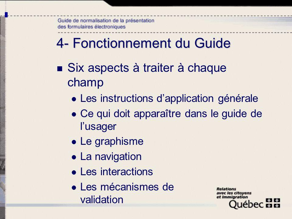4- Fonctionnement du Guide Six aspects à traiter à chaque champ Les instructions dapplication générale Ce qui doit apparaître dans le guide de lusager