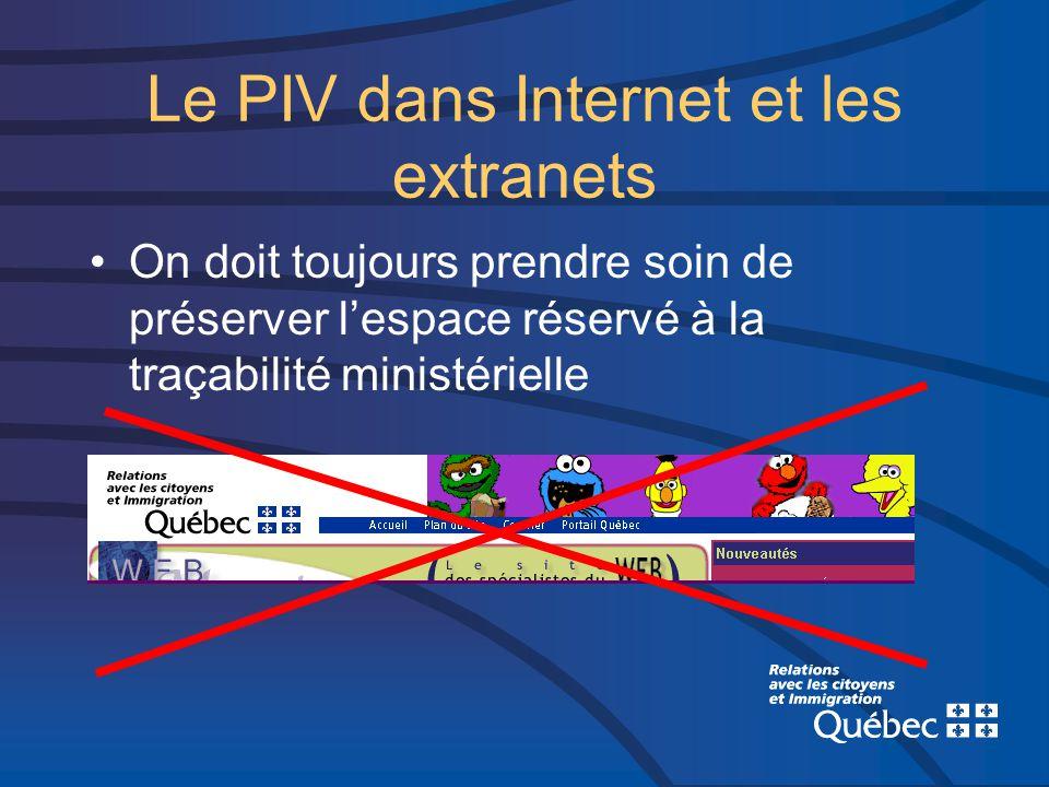 Le PIV dans Internet et les extranets On doit toujours prendre soin de préserver lespace réservé à la traçabilité ministérielle