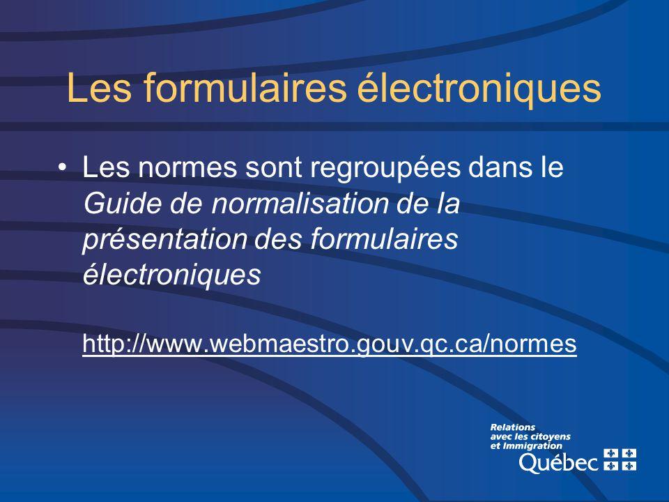 Les normes sont regroupées dans le Guide de normalisation de la présentation des formulaires électroniques http://www.webmaestro.gouv.qc.ca/normes