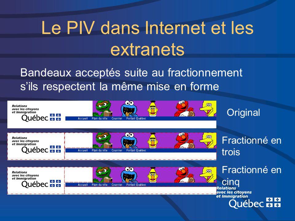 Le PIV dans Internet et les extranets Bandeaux acceptés suite au fractionnement sils respectent la même mise en forme Original Fractionné en trois Fractionné en cinq