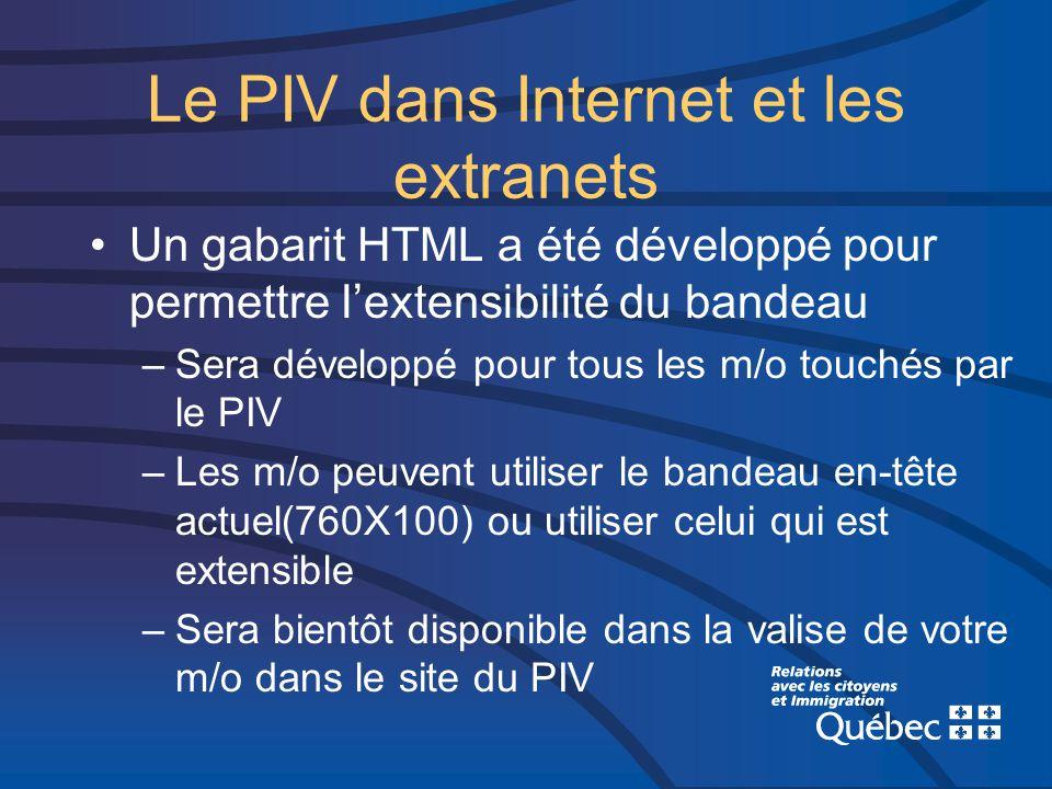 Le PIV dans Internet et les extranets Un gabarit HTML a été développé pour permettre lextensibilité du bandeau –Sera développé pour tous les m/o touchés par le PIV –Les m/o peuvent utiliser le bandeau en-tête actuel(760X100) ou utiliser celui qui est extensible –Sera bientôt disponible dans la valise de votre m/o dans le site du PIV