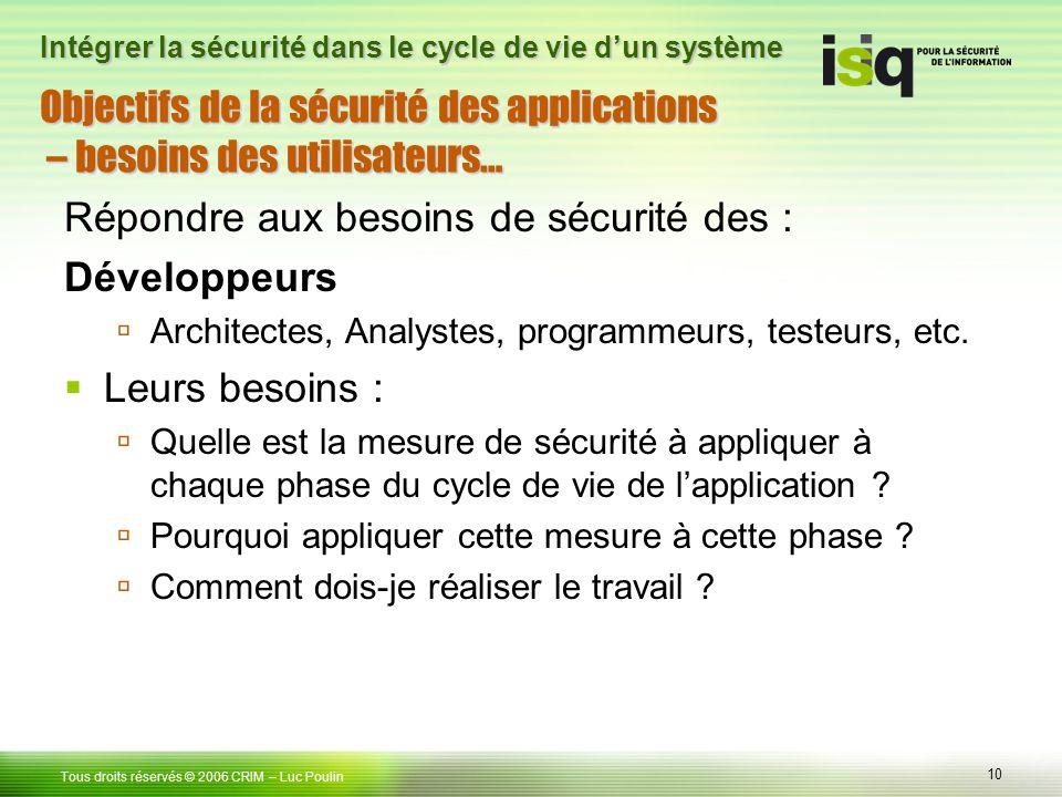10 Tous droits réservés © 2006 CRIM– Luc Poulin Intégrer la sécurité dans le cycle de vie dun système Objectifs de la sécurité des applications – beso