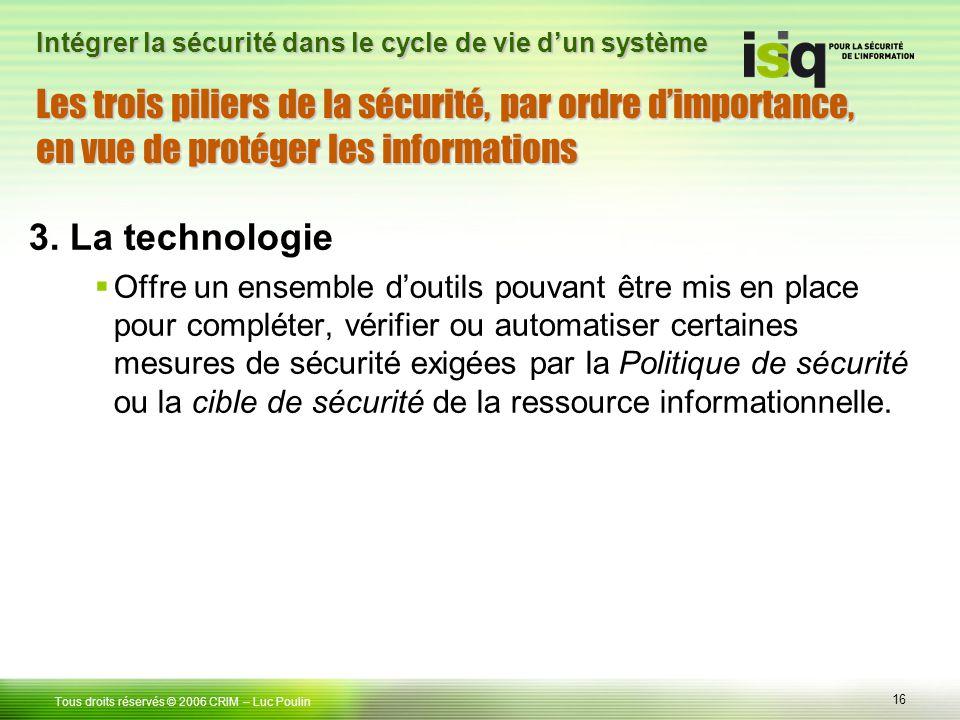 16 Tous droits réservés © 2006 CRIM– Luc Poulin Intégrer la sécurité dans le cycle de vie dun système 3. La technologie Offre un ensemble doutils pouv