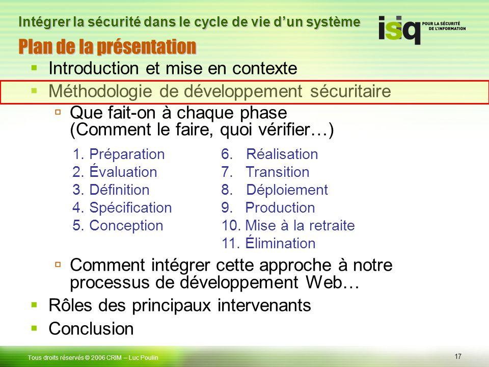 17 Tous droits réservés © 2006 CRIM Plan de la présentation Introduction et mise en contexte Méthodologie de développement sécuritaire Que fait-on à c