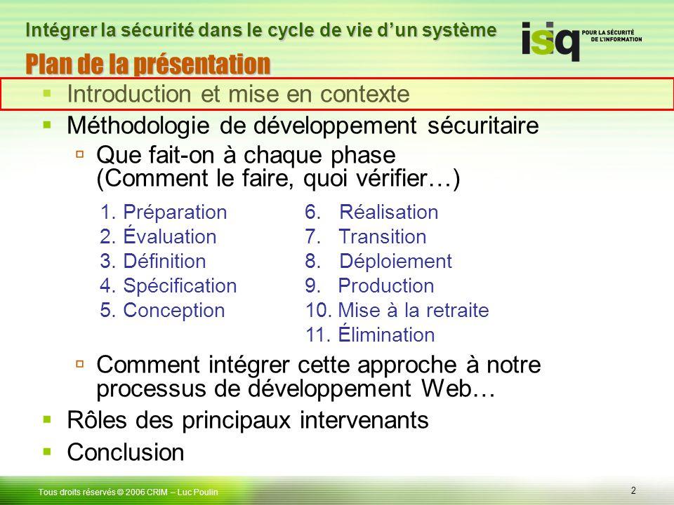 2 Tous droits réservés © 2006 CRIM Plan de la présentation Introduction et mise en contexte Méthodologie de développement sécuritaire Que fait-on à ch