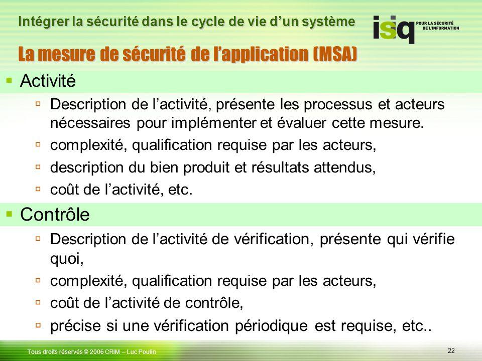 22 Tous droits réservés © 2006 CRIM– Luc Poulin Intégrer la sécurité dans le cycle de vie dun système La mesure de sécurité de lapplication (MSA) Activité Description de lactivité, présente les processus et acteurs nécessaires pour implémenter et évaluer cette mesure.