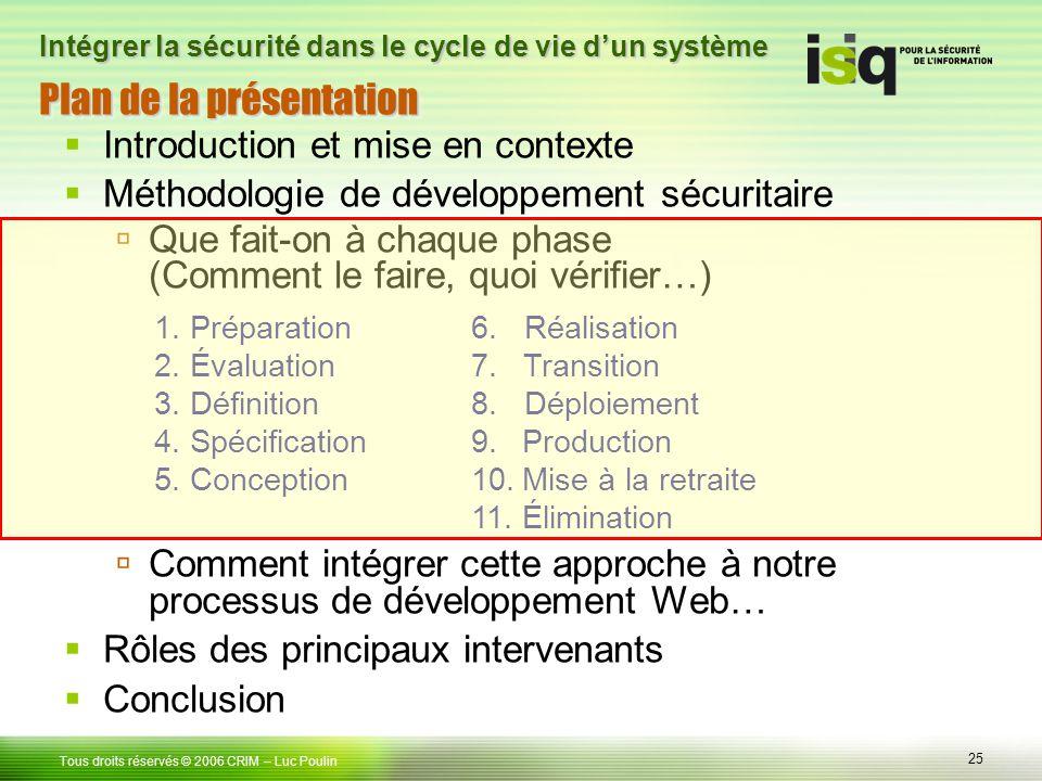 25 Tous droits réservés © 2006 CRIM Plan de la présentation Introduction et mise en contexte Méthodologie de développement sécuritaire Que fait-on à c