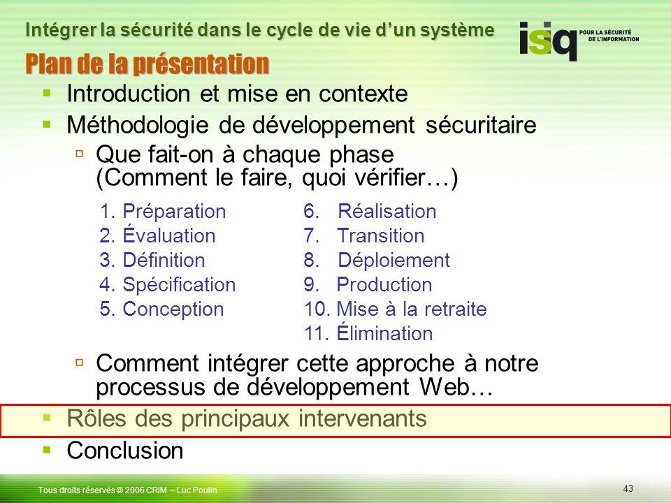 43 Tous droits réservés © 2006 CRIM Plan de la présentation Introduction et mise en contexte Méthodologie de développement sécuritaire Que fait-on à c