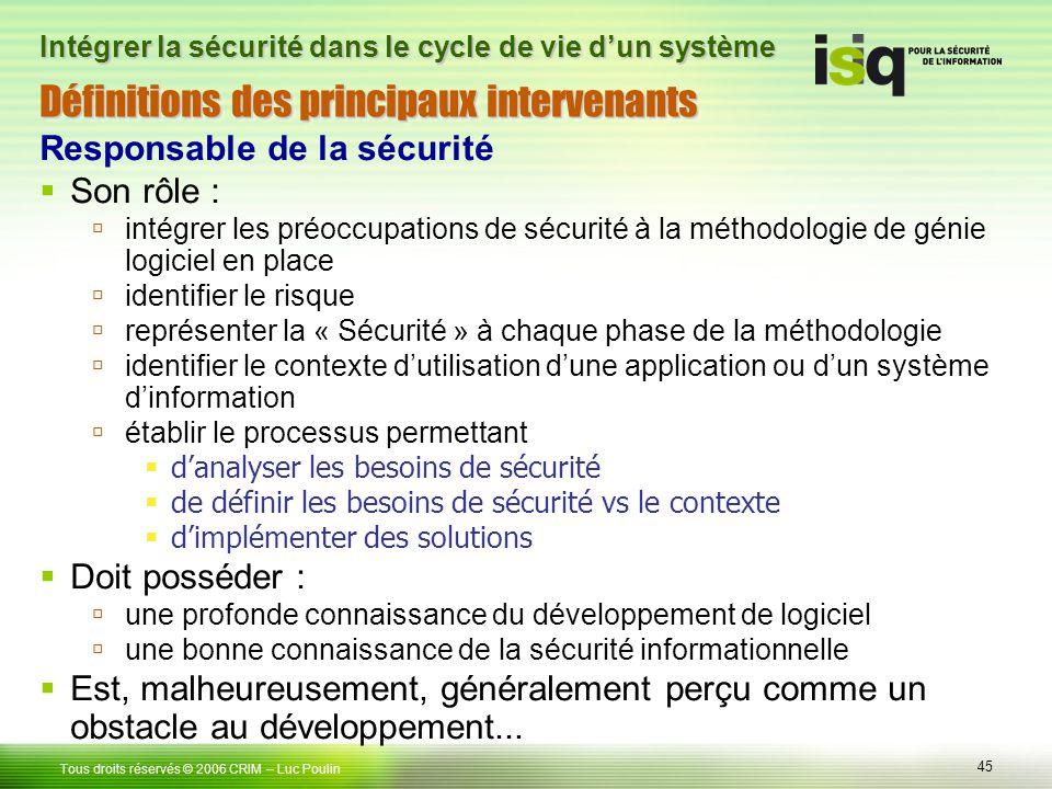 45 Tous droits réservés © 2006 CRIM– Luc Poulin Intégrer la sécurité dans le cycle de vie dun système Définitions des principaux intervenants Responsa
