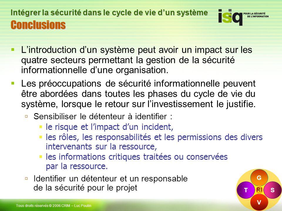 48 Tous droits réservés © 2006 CRIM– Luc Poulin Intégrer la sécurité dans le cycle de vie dun système ConclusionsConclusions Lintroduction dun système