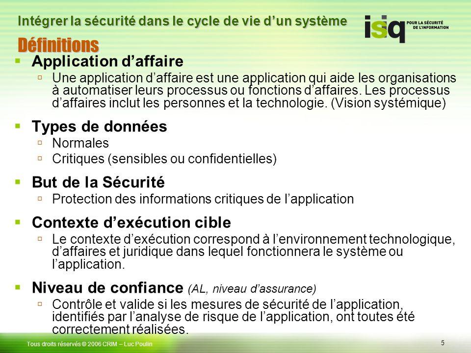 5 Tous droits réservés © 2006 CRIM– Luc Poulin Intégrer la sécurité dans le cycle de vie dun système DéfinitionsDéfinitions Application daffaire Une application daffaire est une application qui aide les organisations à automatiser leurs processus ou fonctions daffaires.