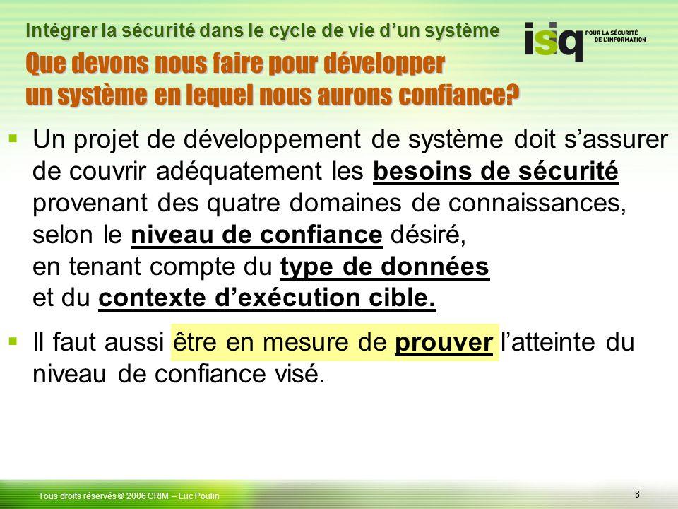 8 Tous droits réservés © 2006 CRIM– Luc Poulin Intégrer la sécurité dans le cycle de vie dun système Un projet de développement de système doit sassur