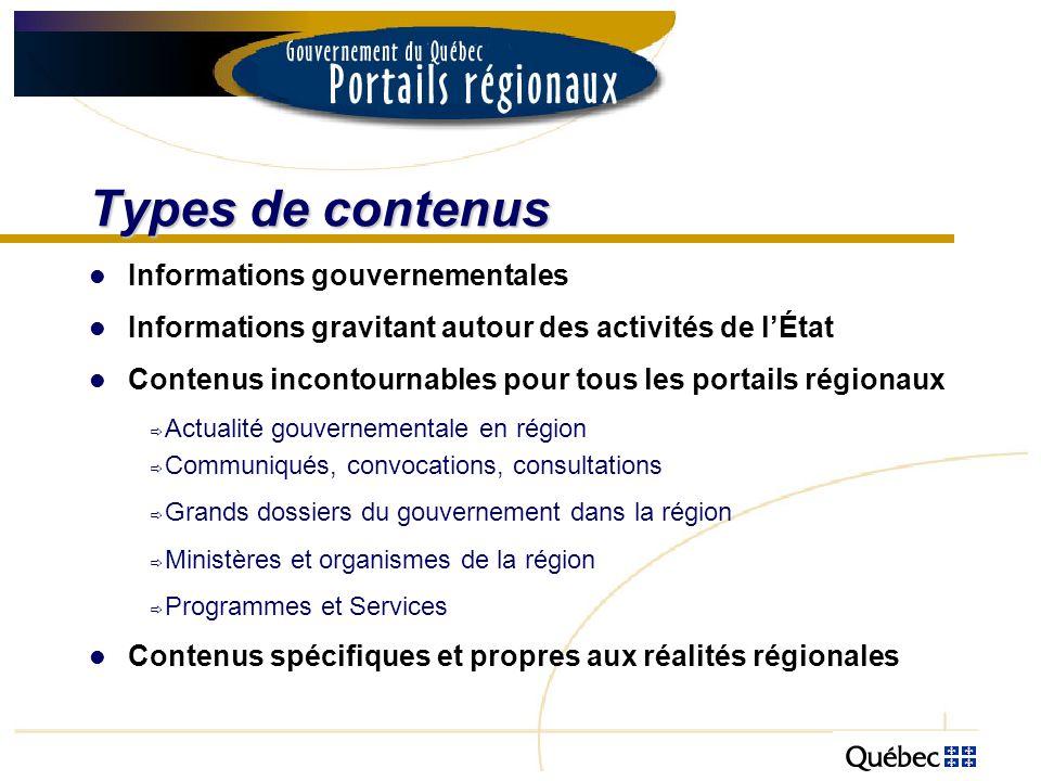 Types de contenus Informations gouvernementales Informations gravitant autour des activités de lÉtat Contenus incontournables pour tous les portails r