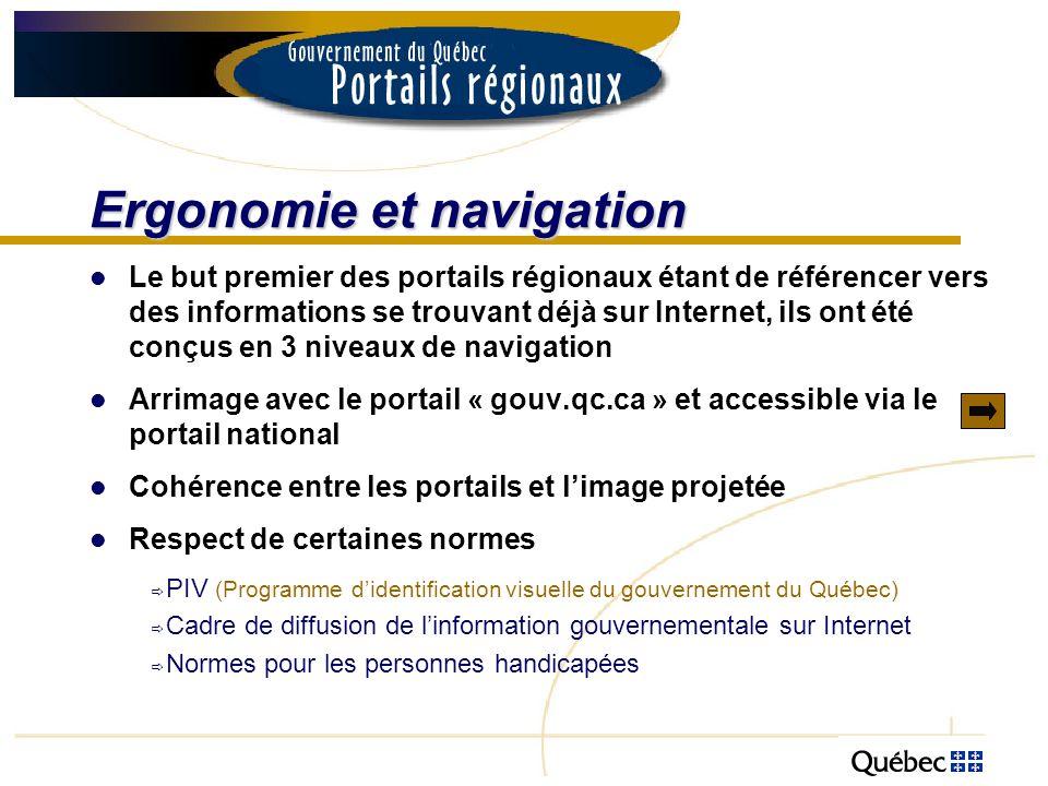 Ergonomie et navigation Le but premier des portails régionaux étant de référencer vers des informations se trouvant déjà sur Internet, ils ont été con